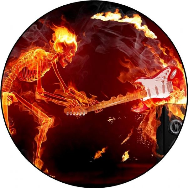 SKELETON GUITAR FLAME 4x4 Spare Wheel Cover DECAL STICKER